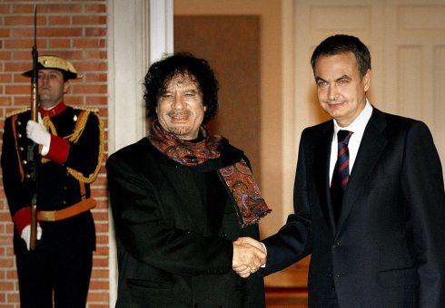 Gadafi-Zapatero-España
